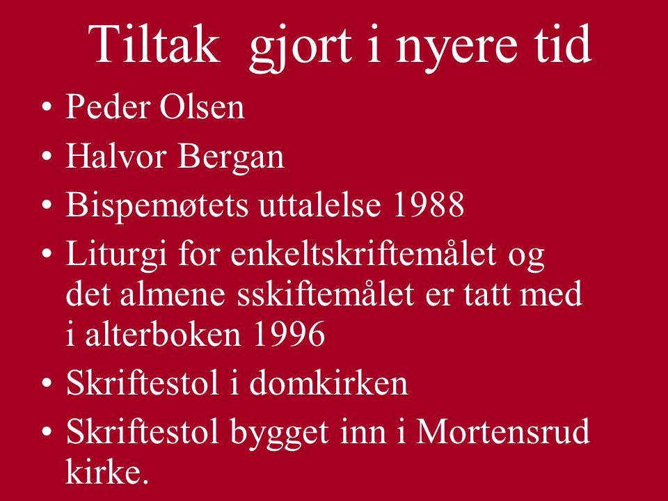 Tiltak gjort i nyere tid Peder Olsen Halvor Bergan Bispemøtets uttalelse 1988 Liturgi for enkeltskriftemålet og det almene sskiftemålet er tatt med i