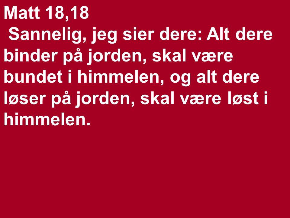 Joh 20,23 Dersom dere tilgir noen deres synder, da er de tilgitt.