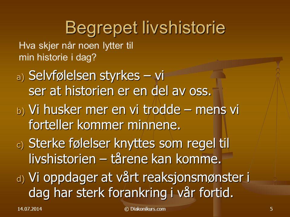 14.07.2014© Diakonikurs.com6 Tankevekker Kristenlivet er ikke historieløst.