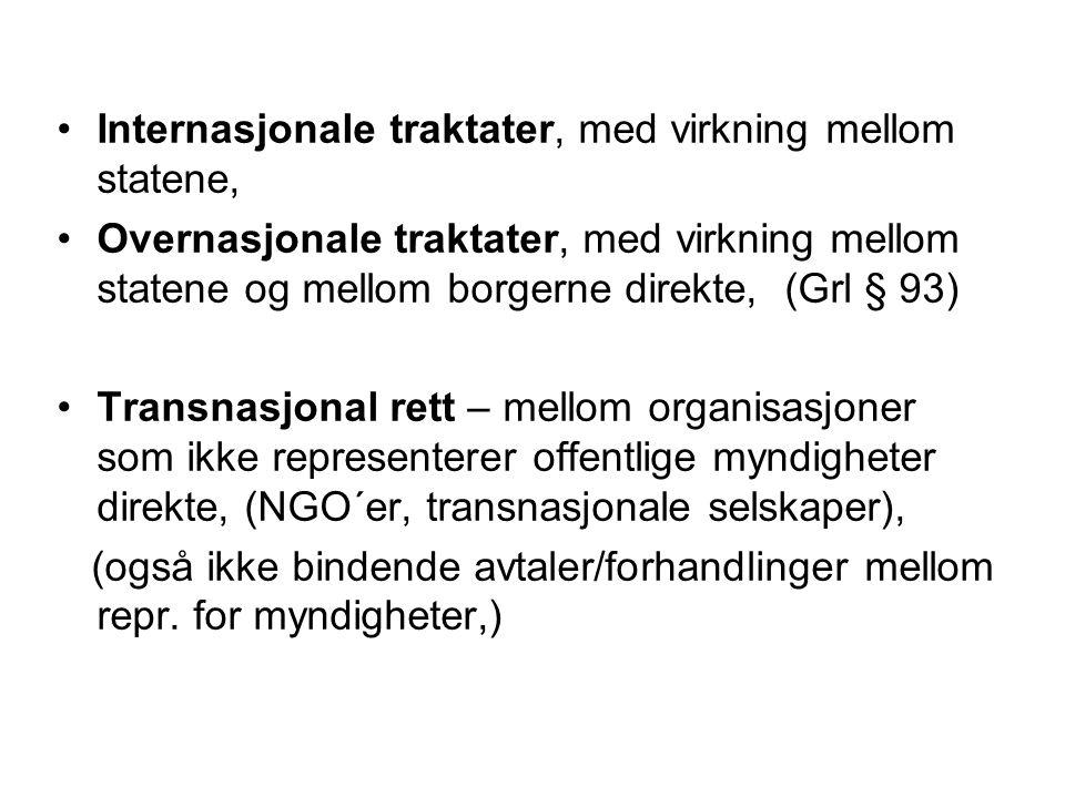 Internasjonale traktater, med virkning mellom statene, Overnasjonale traktater, med virkning mellom statene og mellom borgerne direkte, (Grl § 93) Tra