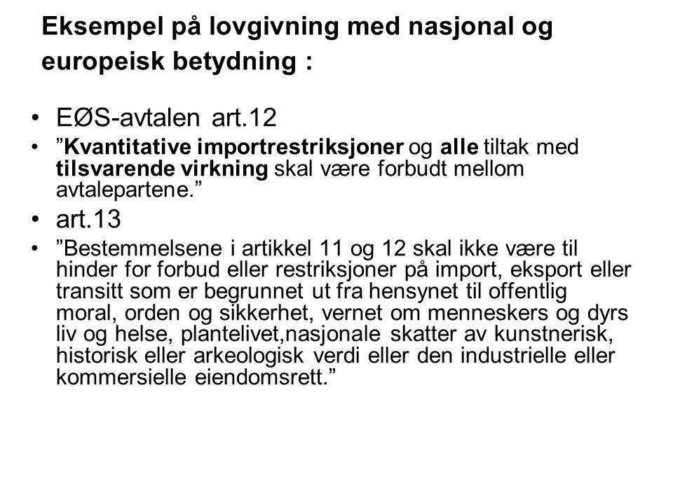 """Eksempel på lovgivning med nasjonal og europeisk betydning : EØS-avtalen art.12 """"Kvantitative importrestriksjoner og alle tiltak med tilsvarende virkn"""