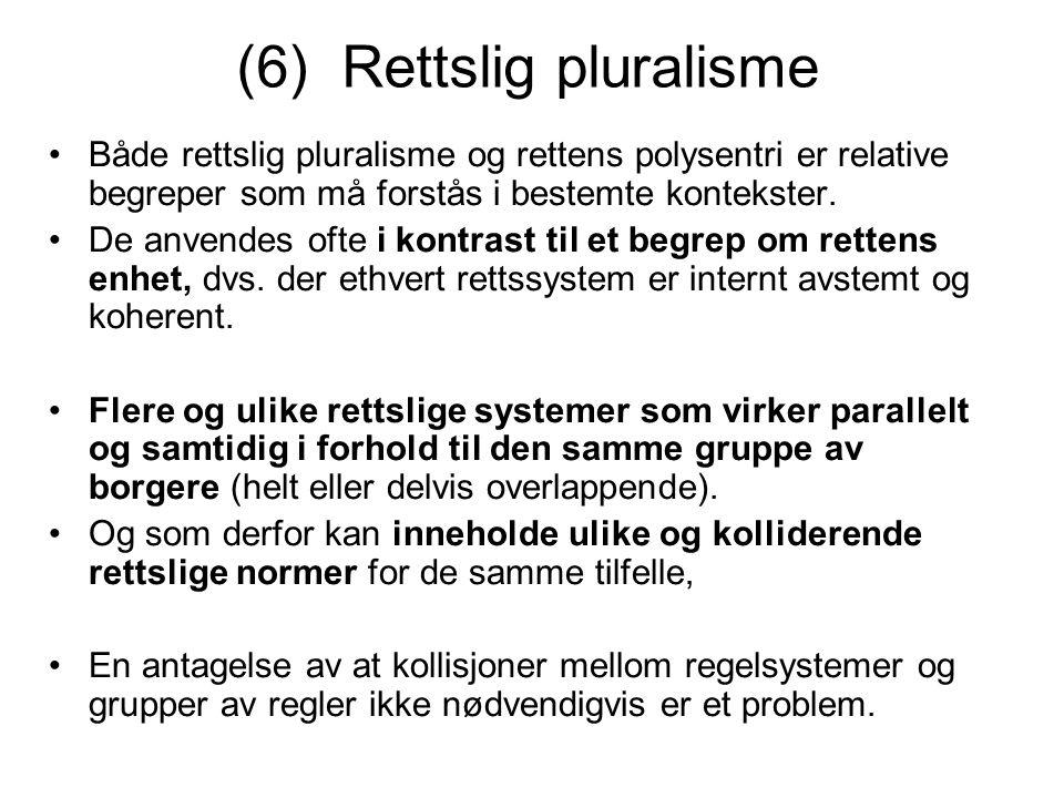 (6) Rettslig pluralisme Både rettslig pluralisme og rettens polysentri er relative begreper som må forstås i bestemte kontekster. De anvendes ofte i k