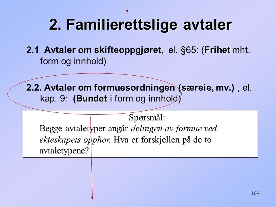 109 2.Familierettslige avtaler Frihet 2.1 Avtaler om skifteoppgjøret, el.
