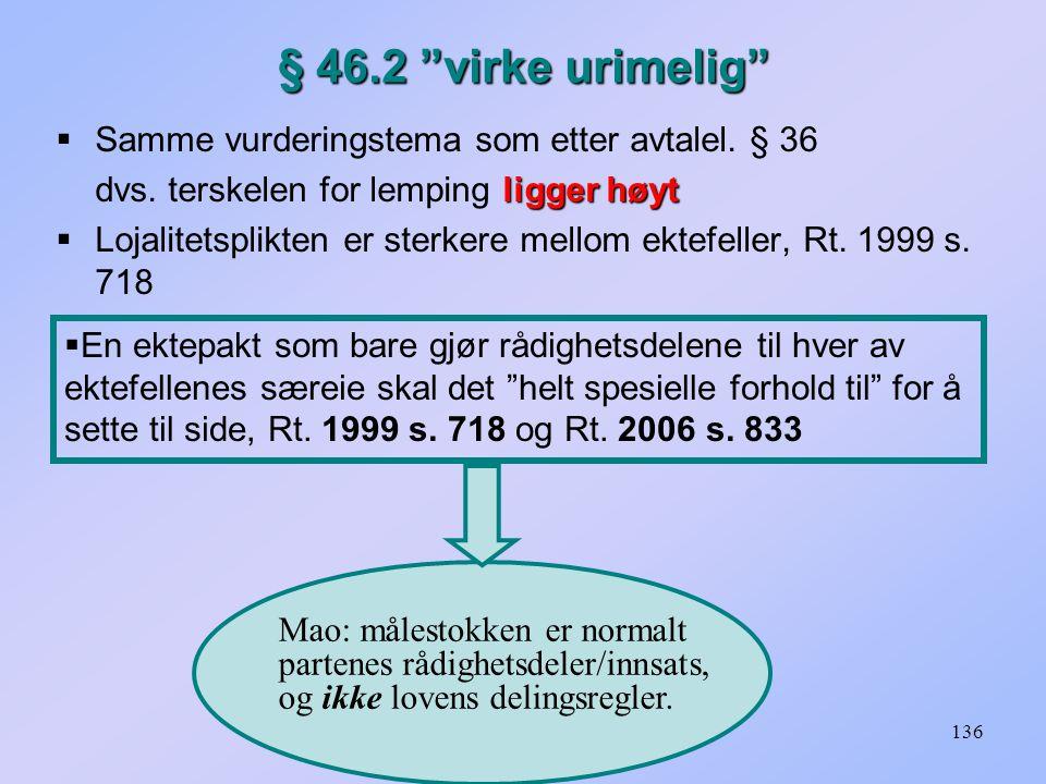 136 § 46.2 virke urimelig  Samme vurderingstema som etter avtalel.