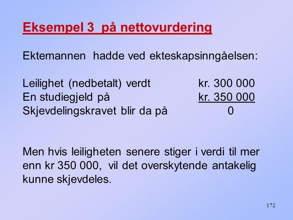 172 Eksempel 3 på nettovurdering Ektemannen hadde ved ekteskapsinngåelsen: Leilighet (nedbetalt) verdt kr.