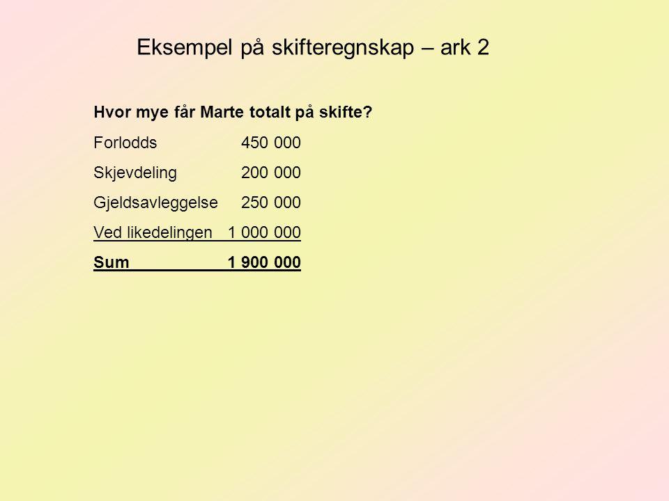 Eksempel på skifteregnskap – ark 2 Hvor mye får Marte totalt på skifte.