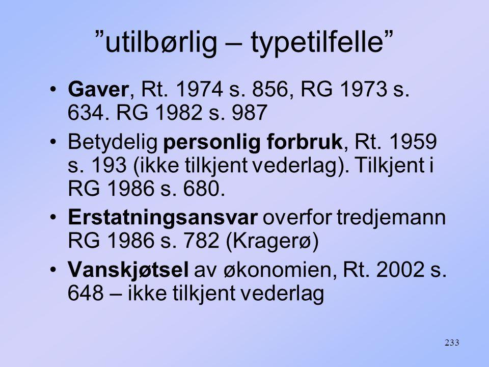 233 utilbørlig – typetilfelle Gaver, Rt.1974 s.