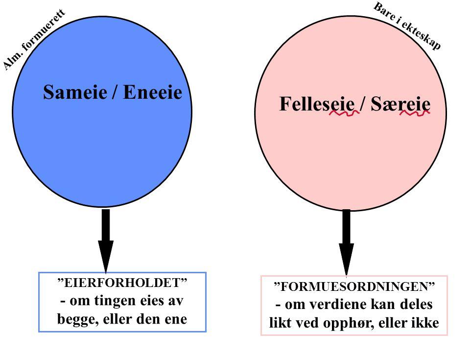 Sameie / Eneeie Felleseie / Særeie EIERFORHOLDET - om tingen eies av begge, eller den ene FORMUESORDNINGEN - om verdiene kan deles likt ved opphør, eller ikke Bare i ekteskap Alm.