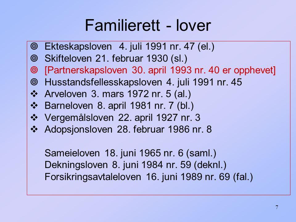 108 1.Formuerettslige avtaler Eks: kjøpsavtaler, gaver, leie..