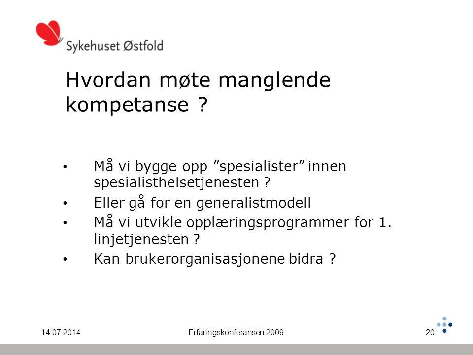 14.07.2014Erfaringskonferansen 200920 Hvordan møte manglende kompetanse .