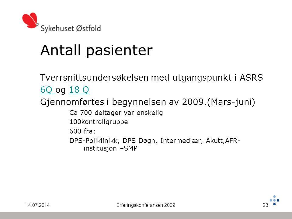 14.07.2014Erfaringskonferansen 200923 Antall pasienter Tverrsnittsundersøkelsen med utgangspunkt i ASRS 6Q 6Q og 18 Q18 Q Gjennomførtes i begynnelsen av 2009.(Mars-juni) Ca 700 deltager var ønskelig 100kontrollgruppe 600 fra: DPS-Poliklinikk, DPS Døgn, Intermediær, Akutt,AFR- institusjon –SMP
