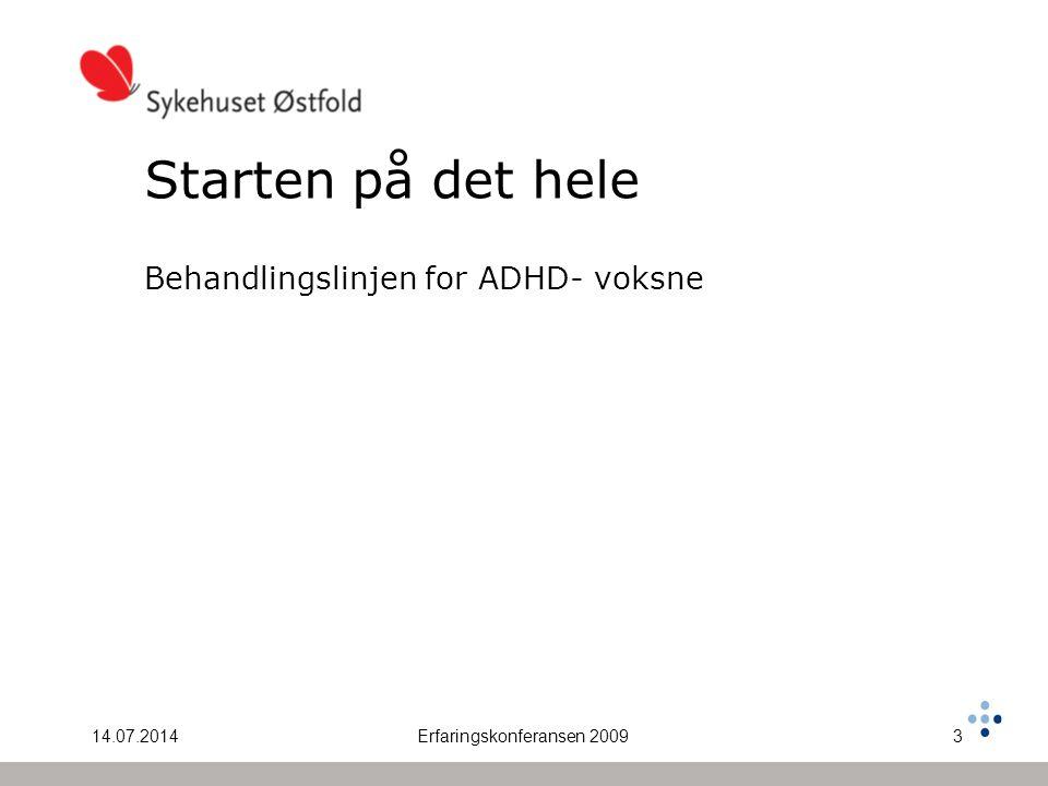 14.07.2014Erfaringskonferansen 20093 Starten på det hele Behandlingslinjen for ADHD- voksne