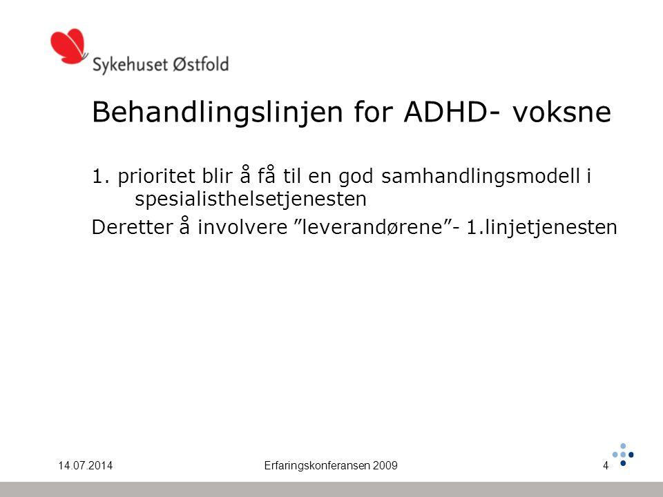 14.07.2014Erfaringskonferansen 20094 Behandlingslinjen for ADHD- voksne 1. prioritet blir å få til en god samhandlingsmodell i spesialisthelsetjeneste