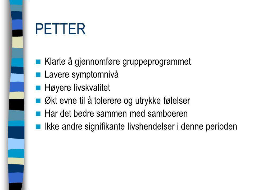 PETTER Klarte å gjennomføre gruppeprogrammet Lavere symptomnivå Høyere livskvalitet Økt evne til å tolerere og utrykke følelser Har det bedre sammen m