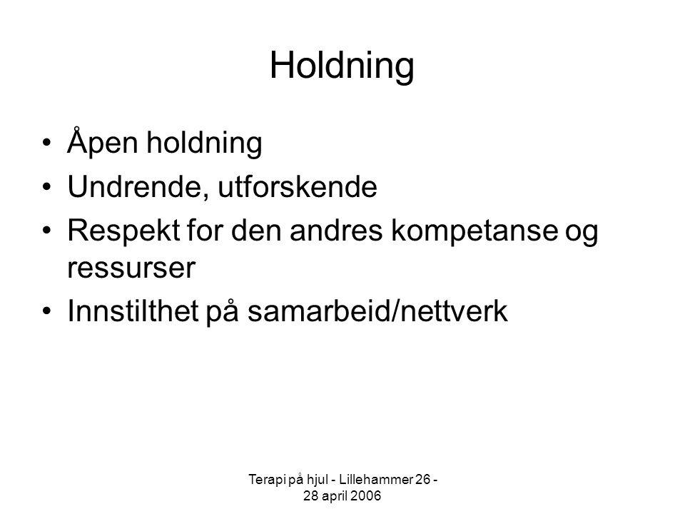 Terapi på hjul - Lillehammer 26 - 28 april 2006 Teori - Metode Åpen samtale To og to Refleksjon Skape mening i kontekst Nettverk Eklektisk tilnærming