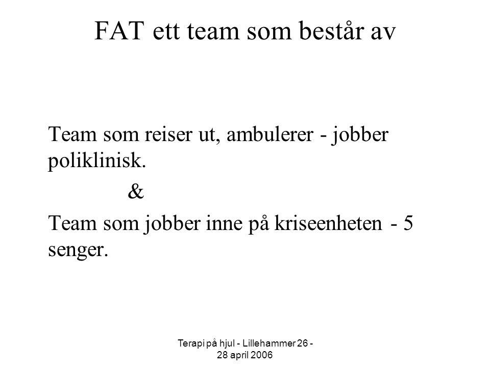 Terapi på hjul - Lillehammer 26 - 28 april 2006 FAT ett team som består av Team som reiser ut, ambulerer - jobber poliklinisk. & Team som jobber inne