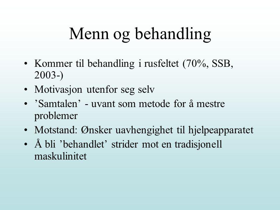 Menn og behandling Kommer til behandling i rusfeltet (70%, SSB, 2003-) Motivasjon utenfor seg selv 'Samtalen' - uvant som metode for å mestre probleme