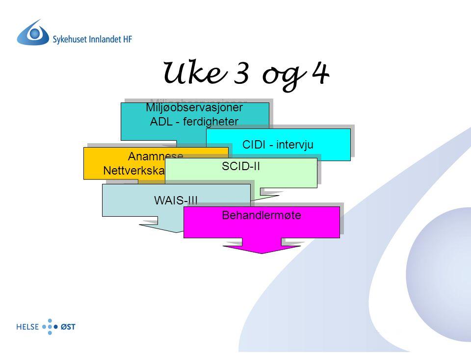 Uke 5 og 6 ADHD - utredning Re-tester SCL-90-R, MCMI-II og GAF Nasjonalt Klientkartleggingsskjema Re-tester SCL-90-R, MCMI-II og GAF Nasjonalt Klientkartleggingsskjema Avsluttende behandlermøte Vurderinger Videre planer/tiltak Vurderinger Videre planer/tiltak Tilbakemelding Samarbeid med ansvarsgruppe