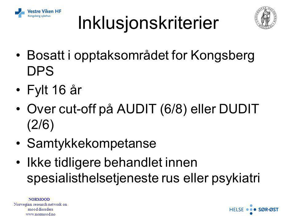 NORMOOD Norwegian research network on mood disorders www.normood.no Inklusjonskriterier Bosatt i opptaksområdet for Kongsberg DPS Fylt 16 år Over cut-