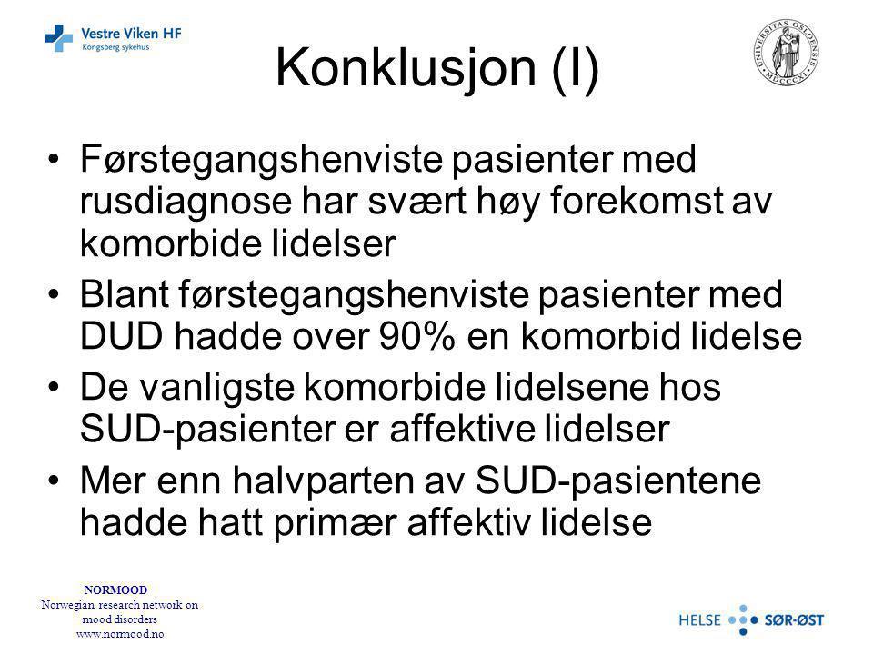 NORMOOD Norwegian research network on mood disorders www.normood.no Konklusjon (I) Førstegangshenviste pasienter med rusdiagnose har svært høy forekomst av komorbide lidelser Blant førstegangshenviste pasienter med DUD hadde over 90% en komorbid lidelse De vanligste komorbide lidelsene hos SUD-pasienter er affektive lidelser Mer enn halvparten av SUD-pasientene hadde hatt primær affektiv lidelse