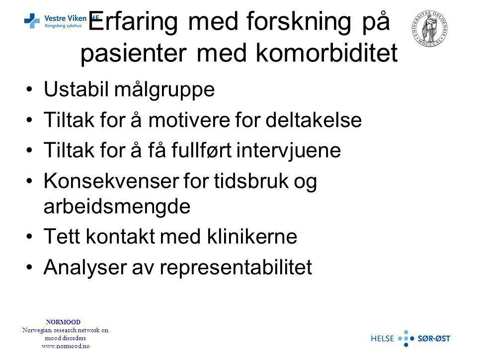 NORMOOD Norwegian research network on mood disorders www.normood.no Forkortelser SUD: Substance Use Disorder (misbruk eller avhengighet av et eller annet rusmiddel) AUD: Alcohol Use Disorder (misbruk eller avhengighet av alkohol, brukes her om de som har alkohol som eneste rusmiddel) DUD: Drug Use Disorder (misbruk eller avhengighet av et eller flere illegale rusmidler) Disse har ofte AUD i tillegg PF: personlighetsforstyrrelse DUSUD: duration of untreated SUD