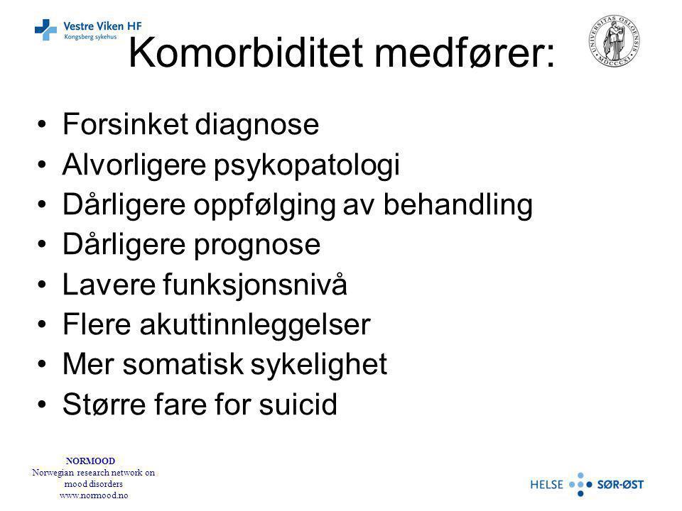 NORMOOD Norwegian research network on mood disorders www.normood.no Komorbiditet medfører: Forsinket diagnose Alvorligere psykopatologi Dårligere oppfølging av behandling Dårligere prognose Lavere funksjonsnivå Flere akuttinnleggelser Mer somatisk sykelighet Større fare for suicid