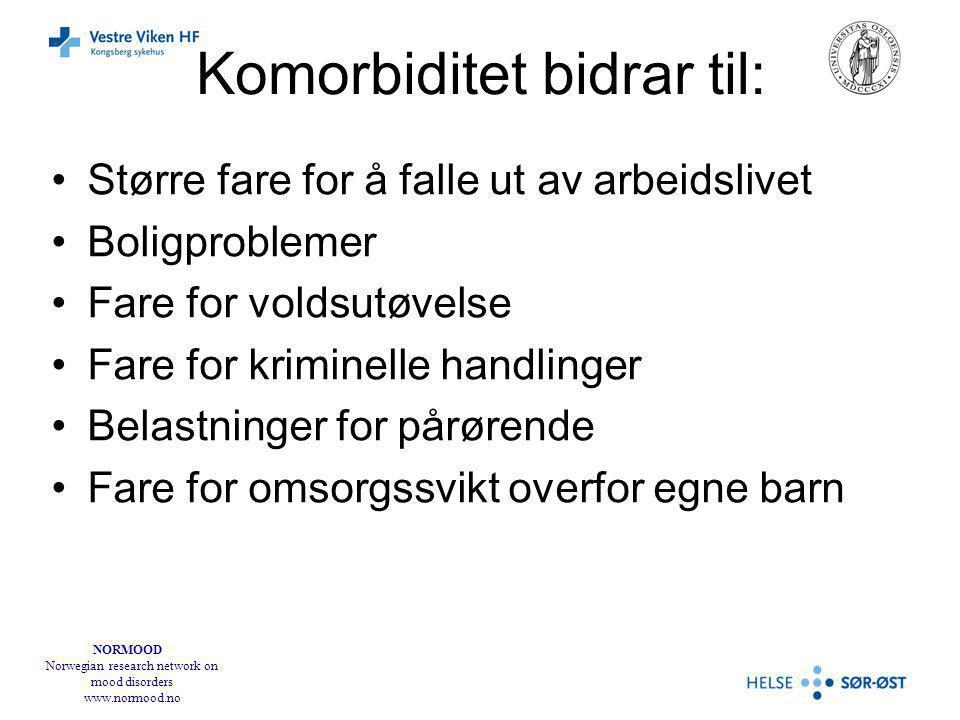 NORMOOD Norwegian research network on mood disorders www.normood.no Komorbiditet bidrar til: Større fare for å falle ut av arbeidslivet Boligproblemer