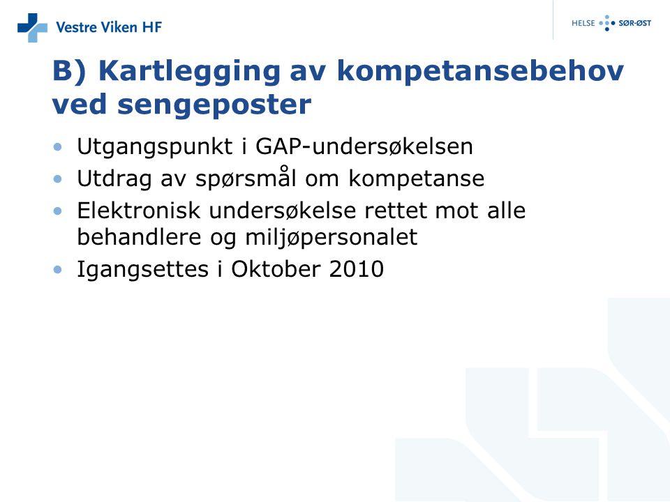 B) Kartlegging av kompetansebehov ved sengeposter Utgangspunkt i GAP-undersøkelsen Utdrag av spørsmål om kompetanse Elektronisk undersøkelse rettet mot alle behandlere og miljøpersonalet Igangsettes i Oktober 2010
