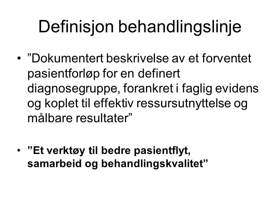 """Definisjon behandlingslinje """"Dokumentert beskrivelse av et forventet pasientforløp for en definert diagnosegruppe, forankret i faglig evidens og kople"""