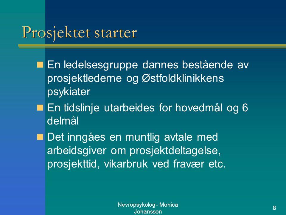Nevropsykolog - Monica Johansson 8 Prosjektet starter En ledelsesgruppe dannes bestående av prosjektlederne og Østfoldklinikkens psykiater En tidslinj
