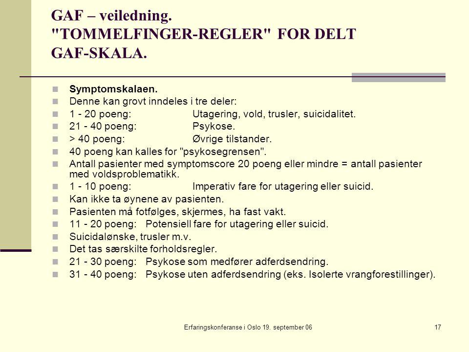 Erfaringskonferanse i Oslo 19. september 0617 GAF – veiledning.