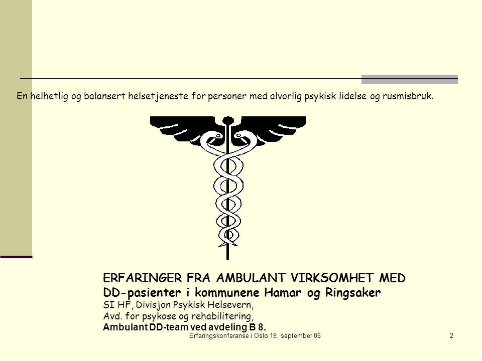 Erfaringskonferanse i Oslo 19. september 062 En helhetlig og balansert helsetjeneste for personer med alvorlig psykisk lidelse og rusmisbruk. ERFARING