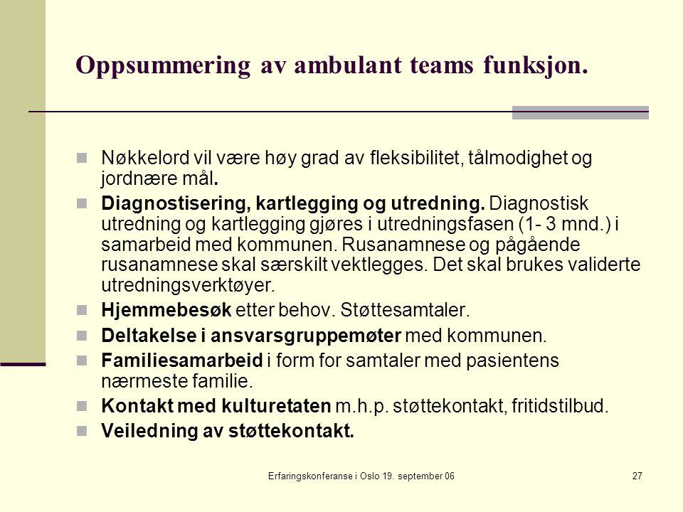 Erfaringskonferanse i Oslo 19. september 0627 Oppsummering av ambulant teams funksjon. Nøkkelord vil være høy grad av fleksibilitet, tålmodighet og jo