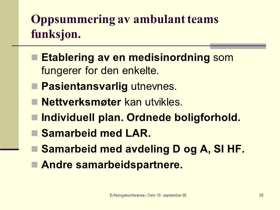 Erfaringskonferanse i Oslo 19. september 0628 Oppsummering av ambulant teams funksjon. Etablering av en medisinordning som fungerer for den enkelte. P