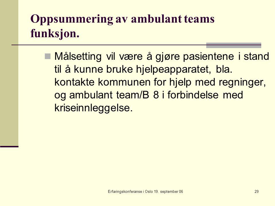 Erfaringskonferanse i Oslo 19. september 0629 Oppsummering av ambulant teams funksjon. Målsetting vil være å gjøre pasientene i stand til å kunne bruk