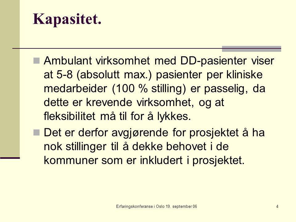 Erfaringskonferanse i Oslo 19. september 064 Kapasitet. Ambulant virksomhet med DD-pasienter viser at 5-8 (absolutt max.) pasienter per kliniske medar