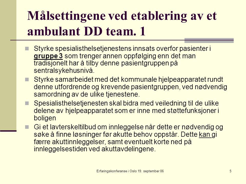 Erfaringskonferanse i Oslo 19. september 065 Målsettingene ved etablering av et ambulant DD team. 1 Styrke spesialisthelsetjenestens innsats overfor p