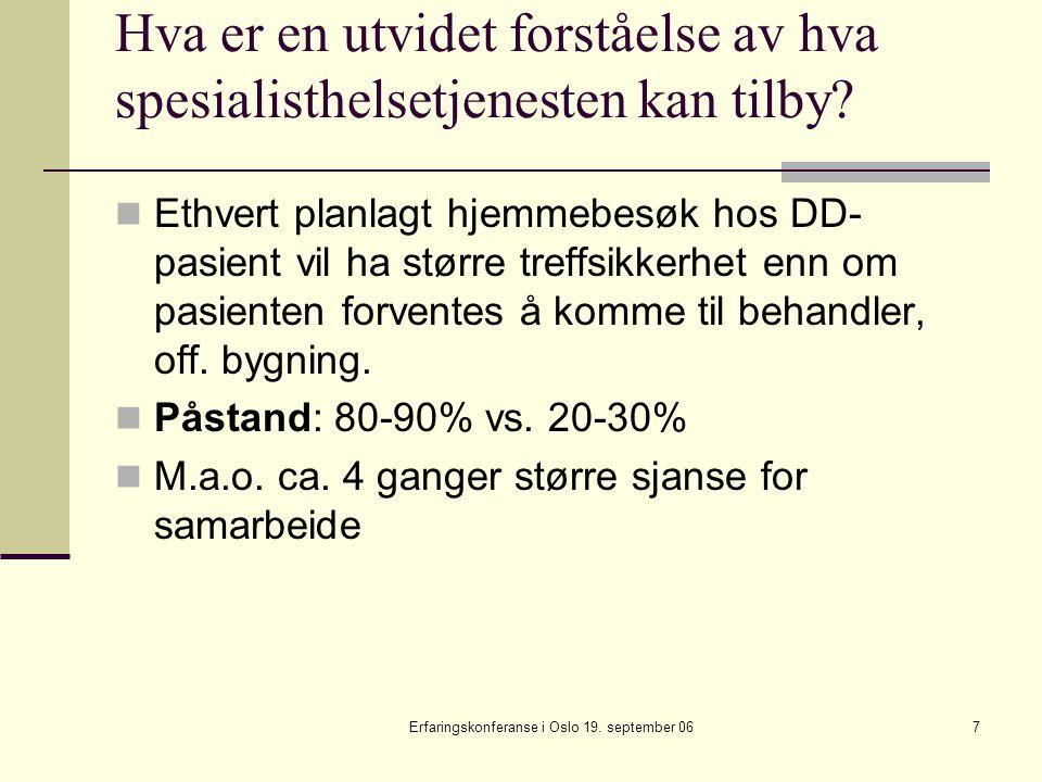 Erfaringskonferanse i Oslo 19.september 0628 Oppsummering av ambulant teams funksjon.