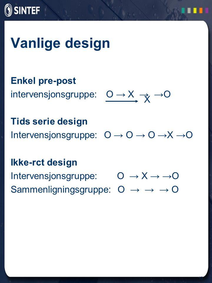 13 Vanlige design Enkel pre-post intervensjonsgruppe: O → X → →O Tids serie design Intervensjonsgruppe: O → O → O →X →O Ikke-rct design Intervensjonsgruppe: O → X → →O Sammenligningsgruppe: O → → → O X