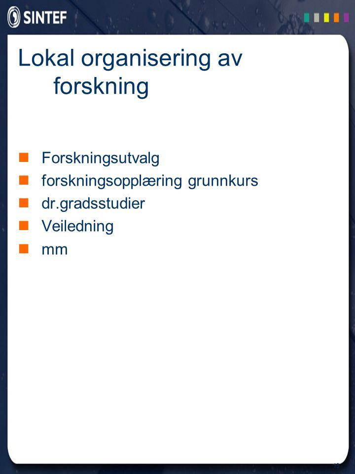 19 Lokal organisering av forskning Forskningsutvalg forskningsopplæring grunnkurs dr.gradsstudier Veiledning mm