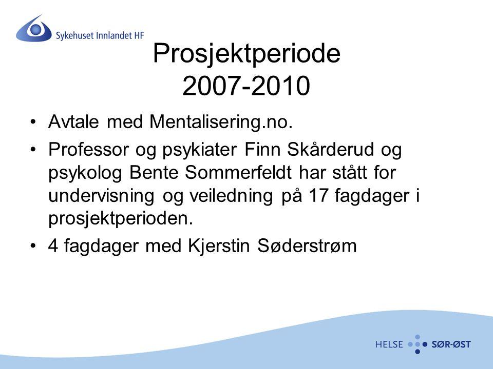 Prosjektperiode 2007-2010 Avtale med Mentalisering.no. Professor og psykiater Finn Skårderud og psykolog Bente Sommerfeldt har stått for undervisning