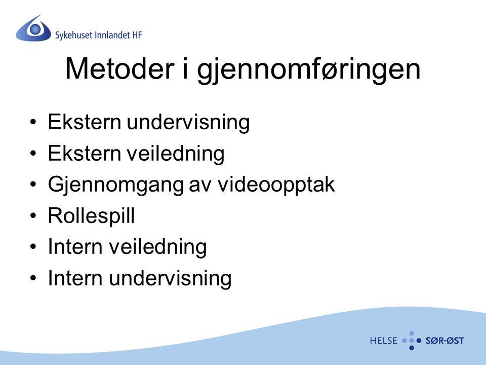 Metoder i gjennomføringen Ekstern undervisning Ekstern veiledning Gjennomgang av videoopptak Rollespill Intern veiledning Intern undervisning