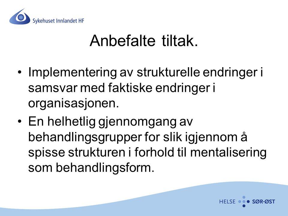 Anbefalte tiltak. Implementering av strukturelle endringer i samsvar med faktiske endringer i organisasjonen. En helhetlig gjennomgang av behandlingsg
