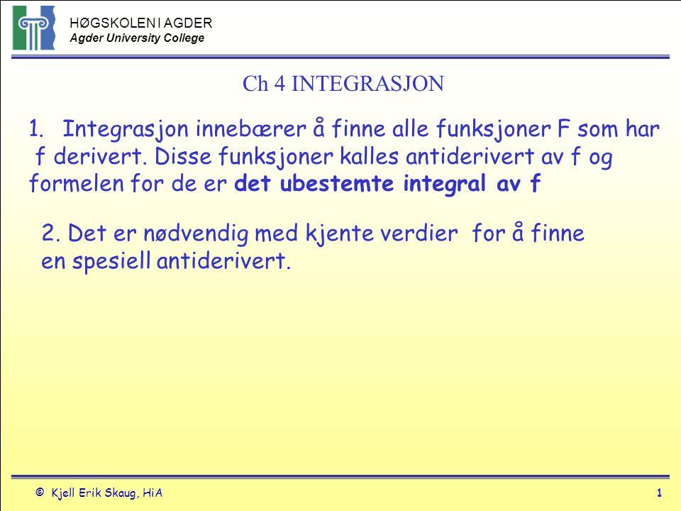 HØGSKOLEN I AGDER Agder University College © Kjell Erik Skaug, HiA2 Definisjon - antiderivert En funksjon F(x) er antiderivert av f(x) hvis F`(x) = f(x) for alle x i definisjonsområdet.