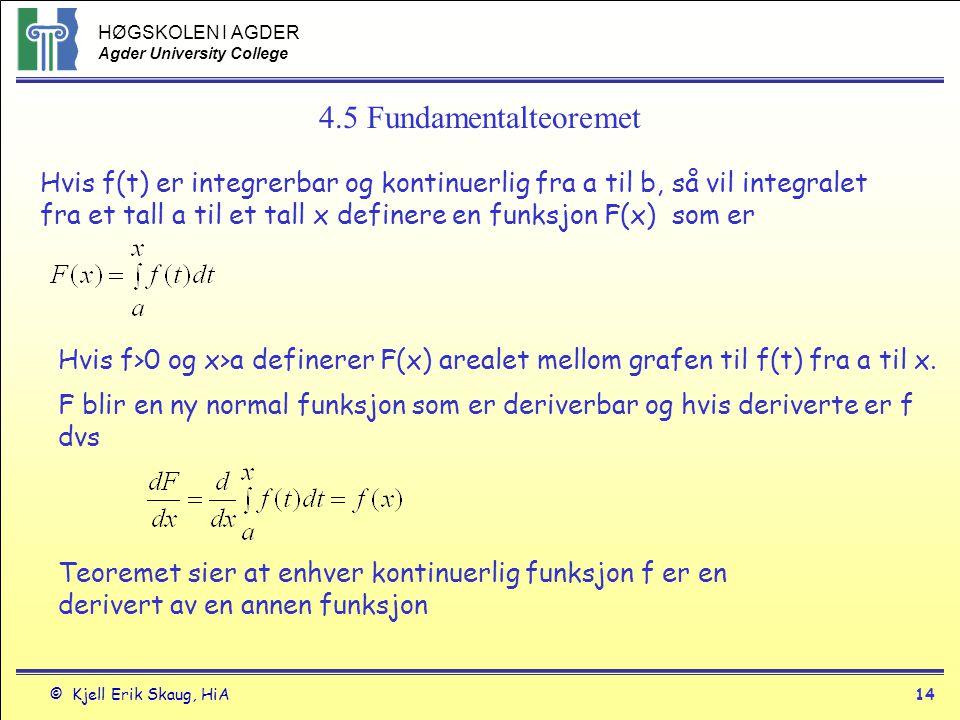 HØGSKOLEN I AGDER Agder University College © Kjell Erik Skaug, HiA14 4.5 Fundamentalteoremet Hvis f(t) er integrerbar og kontinuerlig fra a til b, så