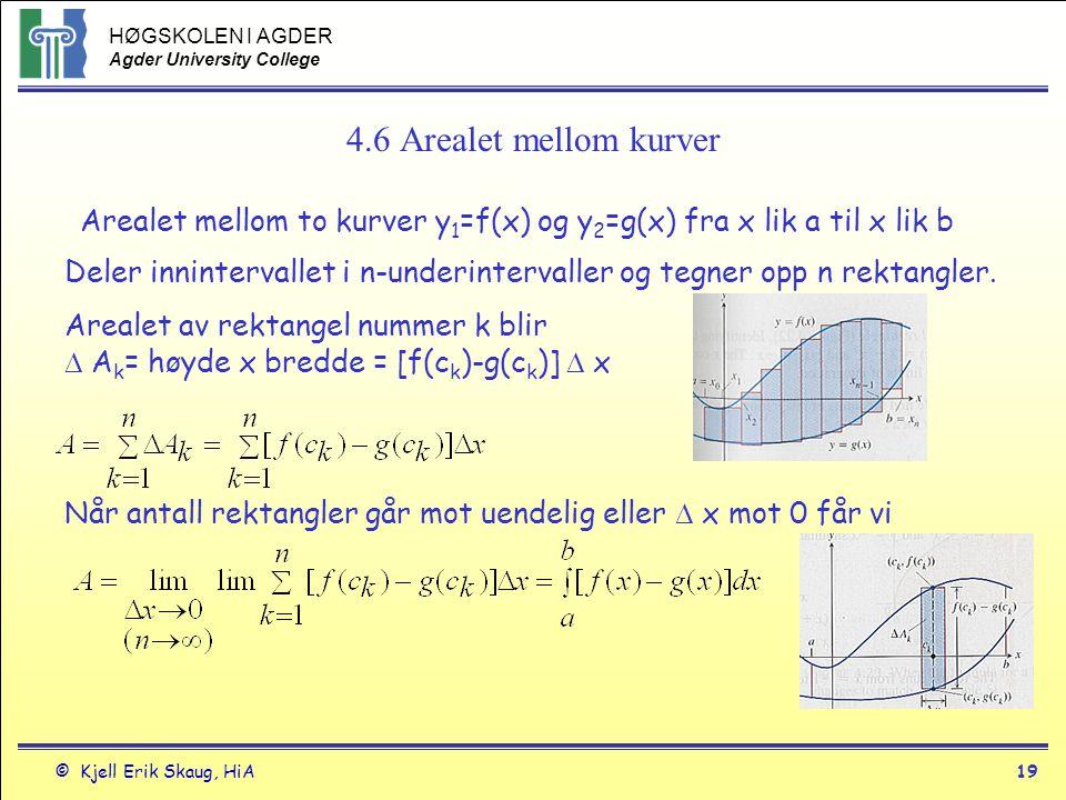 HØGSKOLEN I AGDER Agder University College © Kjell Erik Skaug, HiA19 4.6 Arealet mellom kurver Arealet mellom to kurver y 1 =f(x) og y 2 =g(x) fra x l