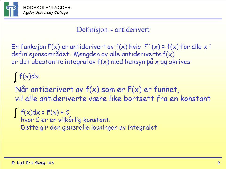 HØGSKOLEN I AGDER Agder University College © Kjell Erik Skaug, HiA2 Definisjon - antiderivert En funksjon F(x) er antiderivert av f(x) hvis F`(x) = f(