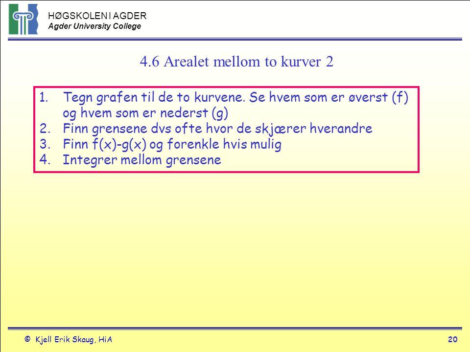HØGSKOLEN I AGDER Agder University College © Kjell Erik Skaug, HiA20 4.6 Arealet mellom to kurver 2 1.Tegn grafen til de to kurvene. Se hvem som er øv