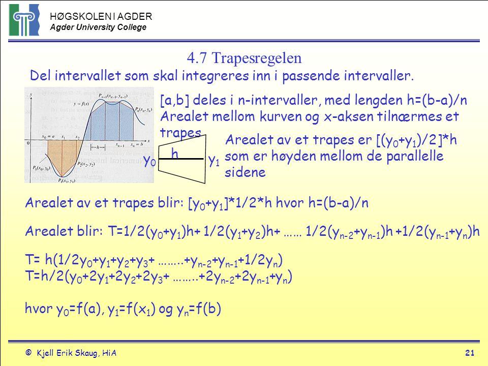 HØGSKOLEN I AGDER Agder University College © Kjell Erik Skaug, HiA21 4.7 Trapesregelen Del intervallet som skal integreres inn i passende intervaller.