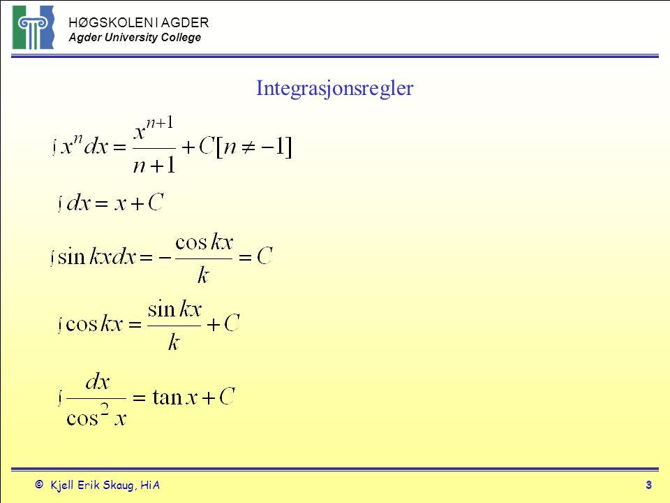 HØGSKOLEN I AGDER Agder University College © Kjell Erik Skaug, HiA14 4.5 Fundamentalteoremet Hvis f(t) er integrerbar og kontinuerlig fra a til b, så vil integralet fra et tall a til et tall x definere en funksjon F(x) som er Hvis f>0 og x>a definerer F(x) arealet mellom grafen til f(t) fra a til x.